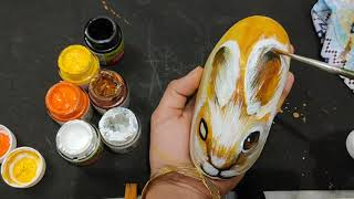 Easy Stone Painting|Pebble art work| DIY Stone| Rock Painting Rabbit| best out of waste