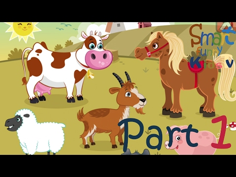 Puzzle Shape Game-Animals Farm Cow Sheep Chicken Dophin  Starfish Crab Ocean Fish Part1