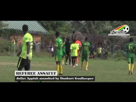 REFEREE ASSAULTED BY DANBORT GOALKEEPER IN A DIVISION ONE LEAGUE GAME.