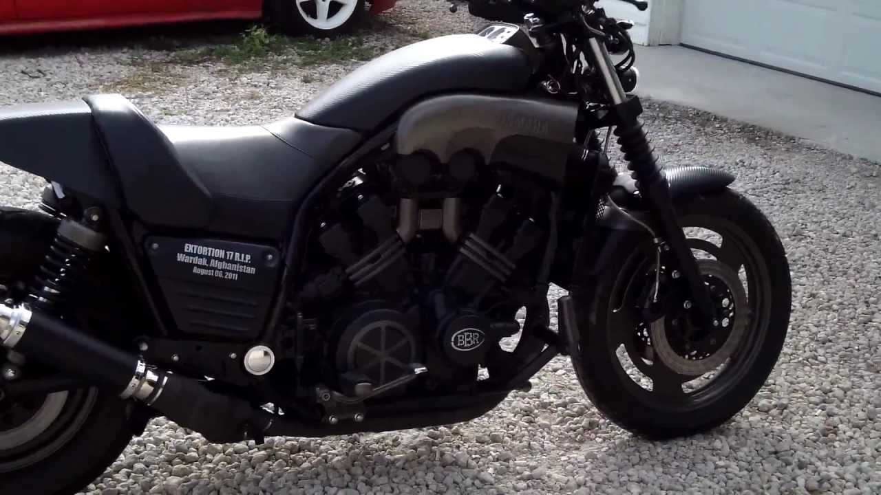 custom 1988 yamaha vmax bare bone rides stealth / black-ops build