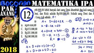 pembahasan 'bocoran' pak anang un matematika ipa sma 2018 no 12 program linear spltv