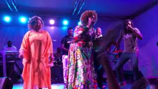 Bridget Blucher, Marvia Providence & Adrian Cunningham at Love Life Gospel Concert in St. Kitts