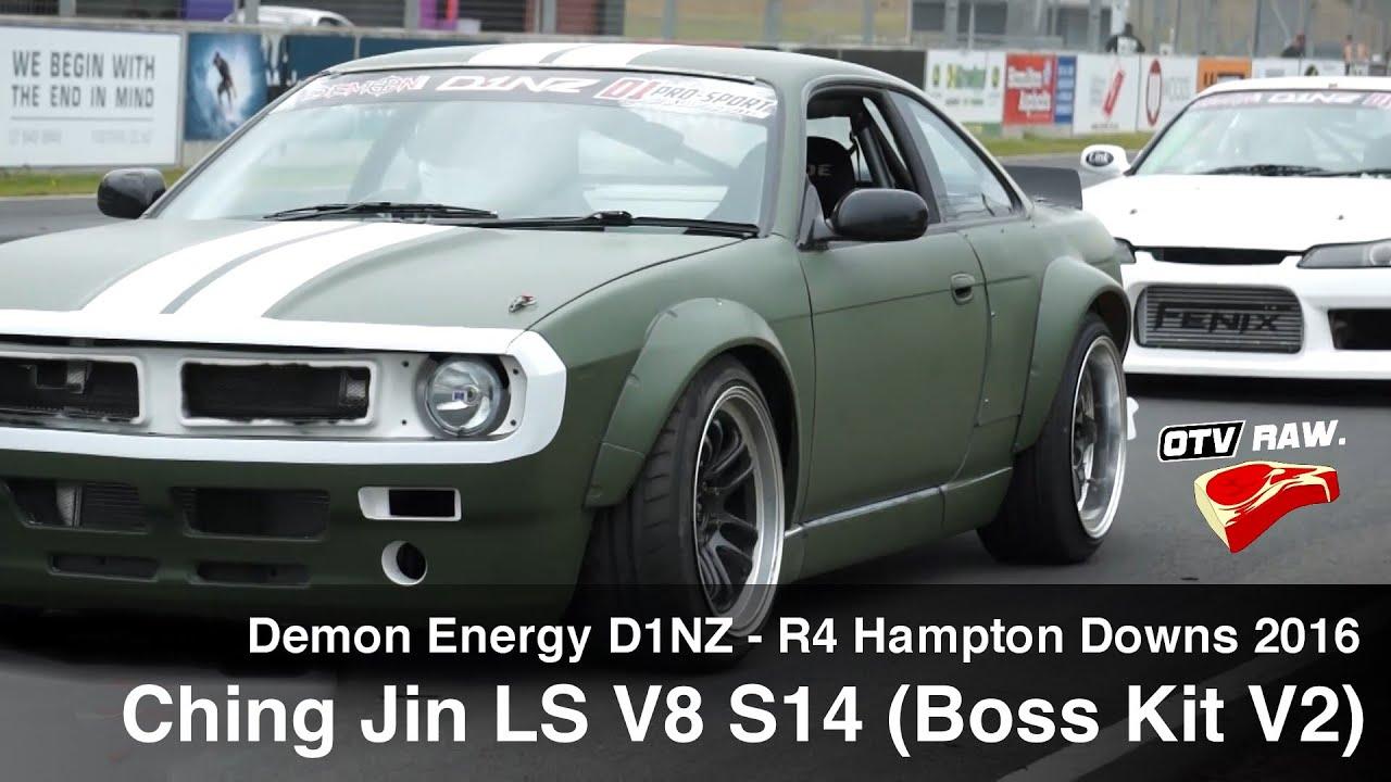 RAW: Ching Jin LSV8 Nissan S14 with Boss Kit V2 - D1NZ Drifting R4 Hampton  Downs 2016