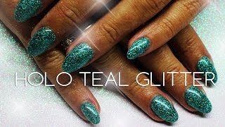 HOLOGRAPHIC TEAL GLITTER ACRYLIC NAILS | HOLOSEXUAL?