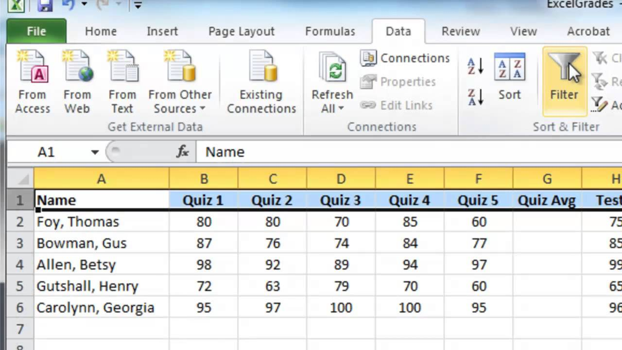 hight resolution of Excel gradebook using percentage method - YouTube