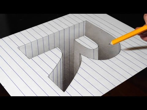 Drawing a R Hole in Line Paper - 3D Trick Art Optical Illusion