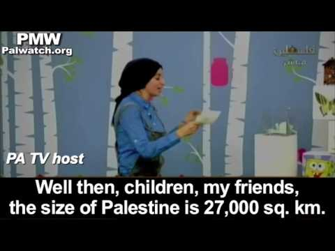 "PA TV teaches kids that ""Palestine is 27,000 sq. km."" which includes all of Israel"