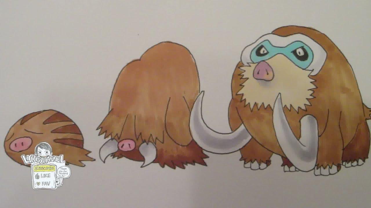how to draw pokemon no 220 swinub no 221 piloswine no 473