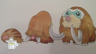 How to draw Pokemon: No.220 Swinub, No.221 Piloswine, No.473 Mamoswine