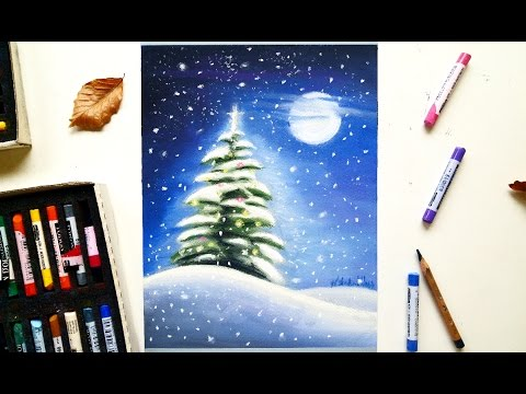 Christmas tree in the snow drawing with soft pastels   Leontine van vliet - YouTube