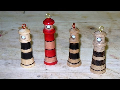 Turning a Lighthouse Christmas Tree Ornament - YouTube