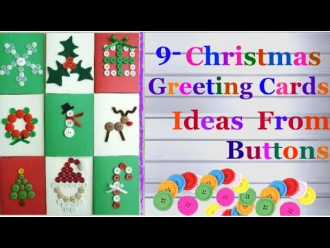DIY-9 Easy Christmas greeting card ideas from buttons/homemade Christmas Cards ideas for kids