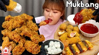 Couple Mukbang│Eating POTAKING Fried chicken, New Menu of BHC with Purinkle side menu.