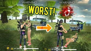 WORST PLAYER IN THE GAME! (Fix your game please) - Free Fire Battlegrounds