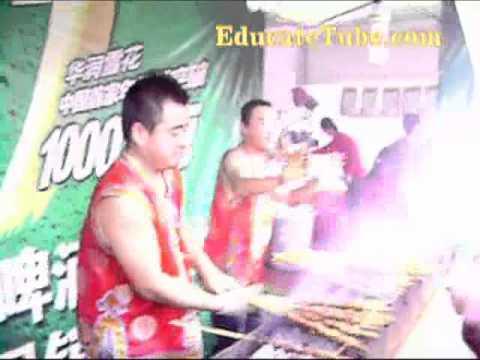 Dancing Mongolian BBQ Outdoor Street Market in Shenyang China