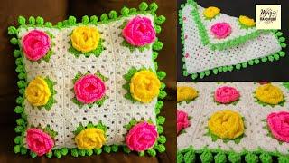 🌹गुलाब के फूलों वाला तकिया का कवर, Crochet cushion cover, Sofa Cushion cover, Rose Pillow cover