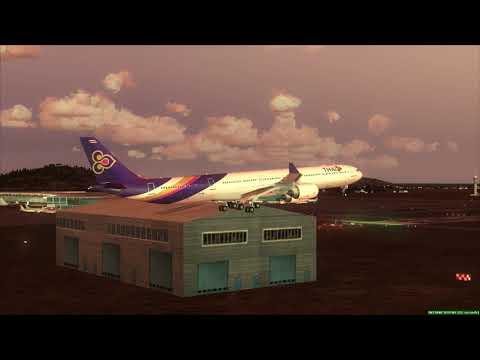 Landing In Seoul THAI A340-600 ++ FSX