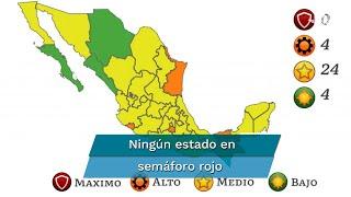 La Secretaría de Salud informó que en naranja se encuentran los estados de Morelos, Tamaulipas, Colima y Tabasco; mientras que ninguna entidad marca en rojo