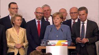 """Merkel: """"Ce n'était pas évident mais nous sommes de nouveau la première force politique du pays"""""""