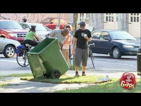 Man Disappears In Garbage Bin Prank