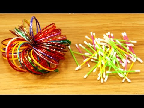 Cotton buds & Old bangles reuse idea | Best craft idea | DIY arts and crafts | DIY cotton buds