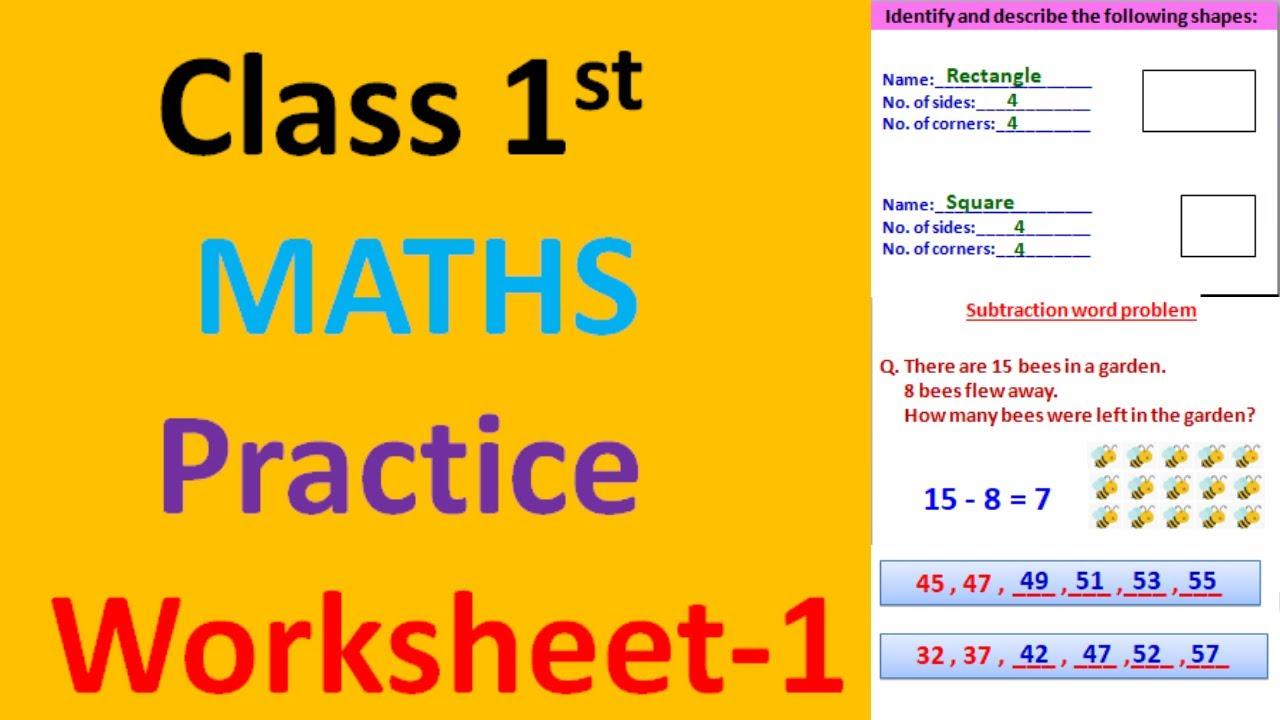 medium resolution of class 1 maths worksheet-1  worksheet for class 1  math worksheet for class 1   1st class maths - YouTube