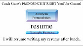 how to pronounce resume youtube