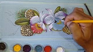 Aprenda a Pintar Orquídeas em Toalha de lavabo
