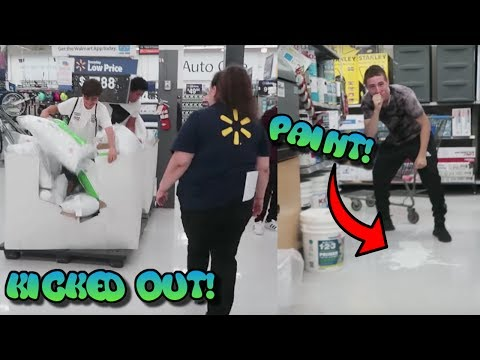 TRYING TO GET KICKED OUT OF WALMART!! *SPILLED PAINT*