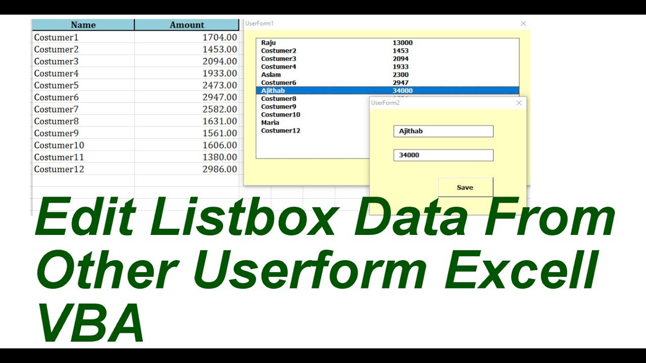 Llistbox Data Edit from Other userform Excel VBA - YouTube