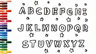 Alphabet Drawing A-Z Draw 26 Letters Painting for toddlers and drawing for kids