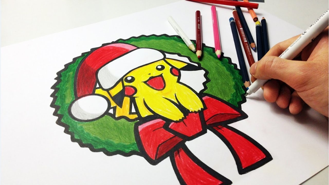 Color Christmas Pictures To Draw.How To Draw Pikachu Christmas Edition Pokemon Go Speed Drawing Color Pencils
