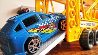 Transportation Vehicles Being Loaded With Plastic Toy Cars for kids