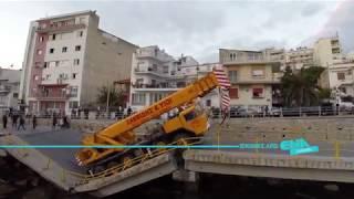 Εναέρια απο την κατάρρευση της γέφυρας στη Καβάλα