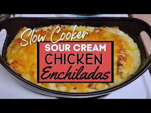 Sour Cream Chicken Enchiladas   Easy Slow Cooker Recipe