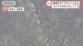 箱根ロープウェーが停止 ゴンドラの客が歩いて下山(2020年10月5日) - YouTube