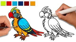 How To Drawing Birds for Kids | Draw Animals and Learn Colors for Children