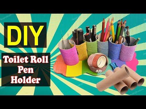 How to Make Toilet Roll Pen Holder | Easy DIY Toilet Roll Pen Holder | Why Crafts