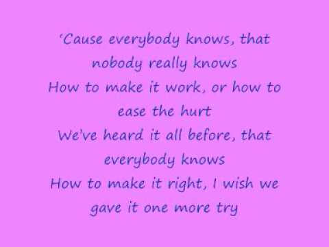 John Legend - Everybody Knows with lyrics