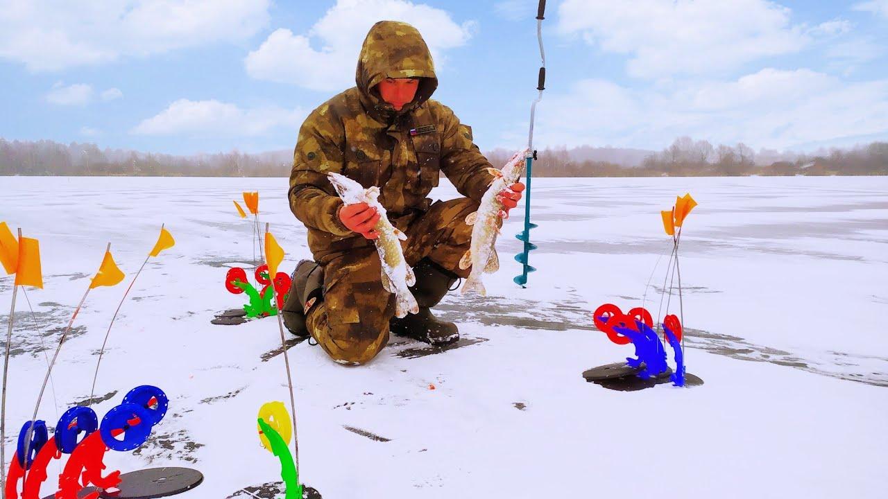 Как Ловить Щуку на ЖЕРЛИЦЫ Зимой! Зимняя Рыбалка. Первый лёд 2019-2020! Зимняя рыбалка на жерлицы.0+