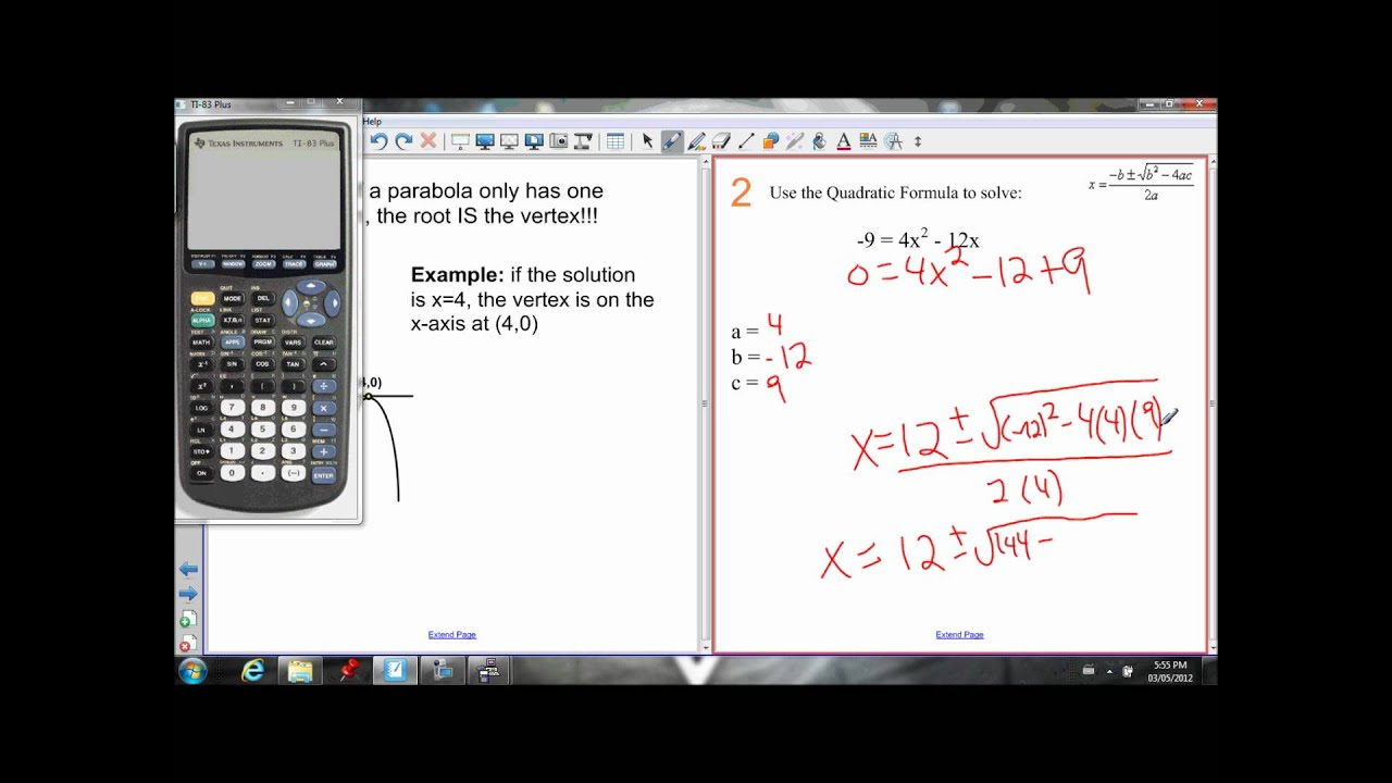 6 4 Quadratic Formula Lesson 1