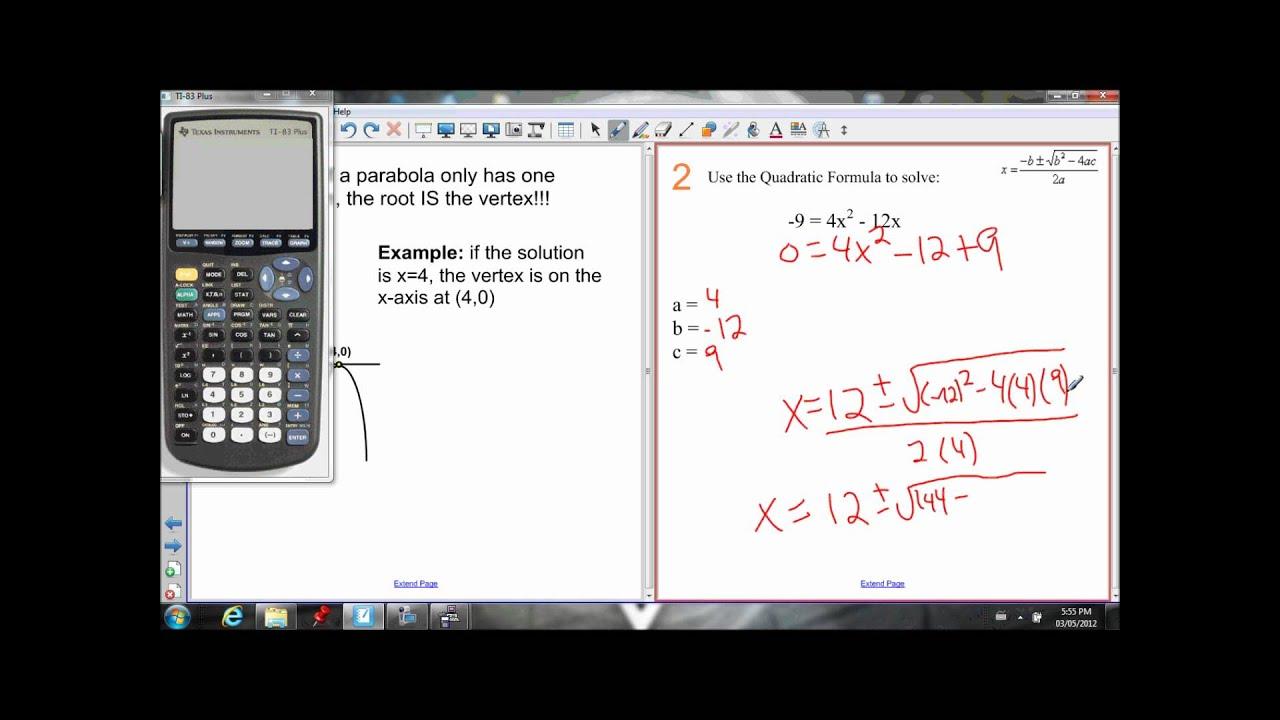 6 4 Quadratic Formula Lesson 1