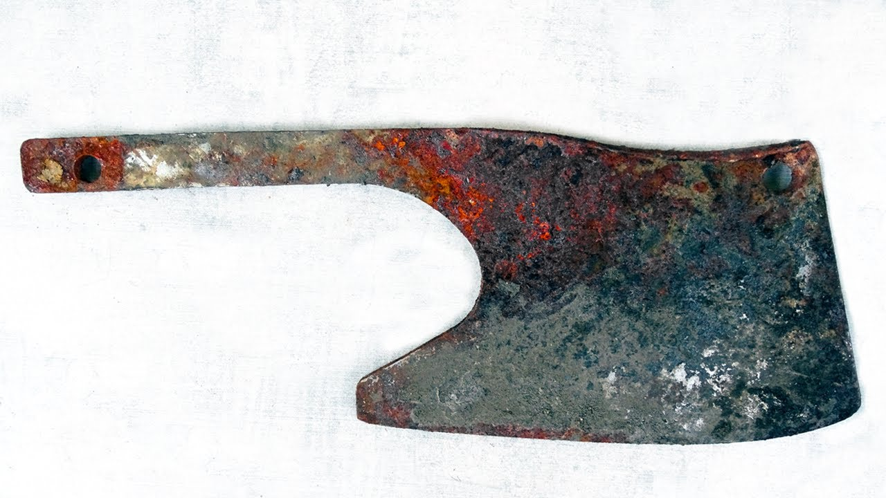 Restoration Old Rusty Butcher Cleaver