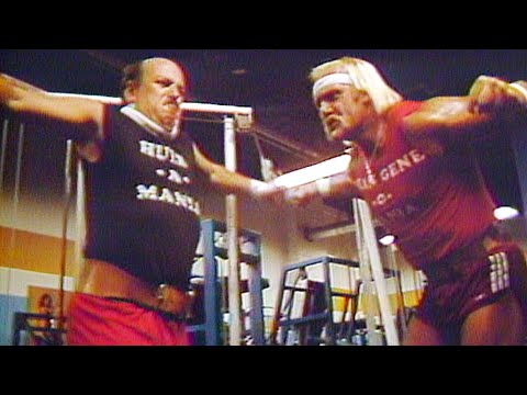 """Mean"" Gene Okerlund trains with Hulk Hogan"