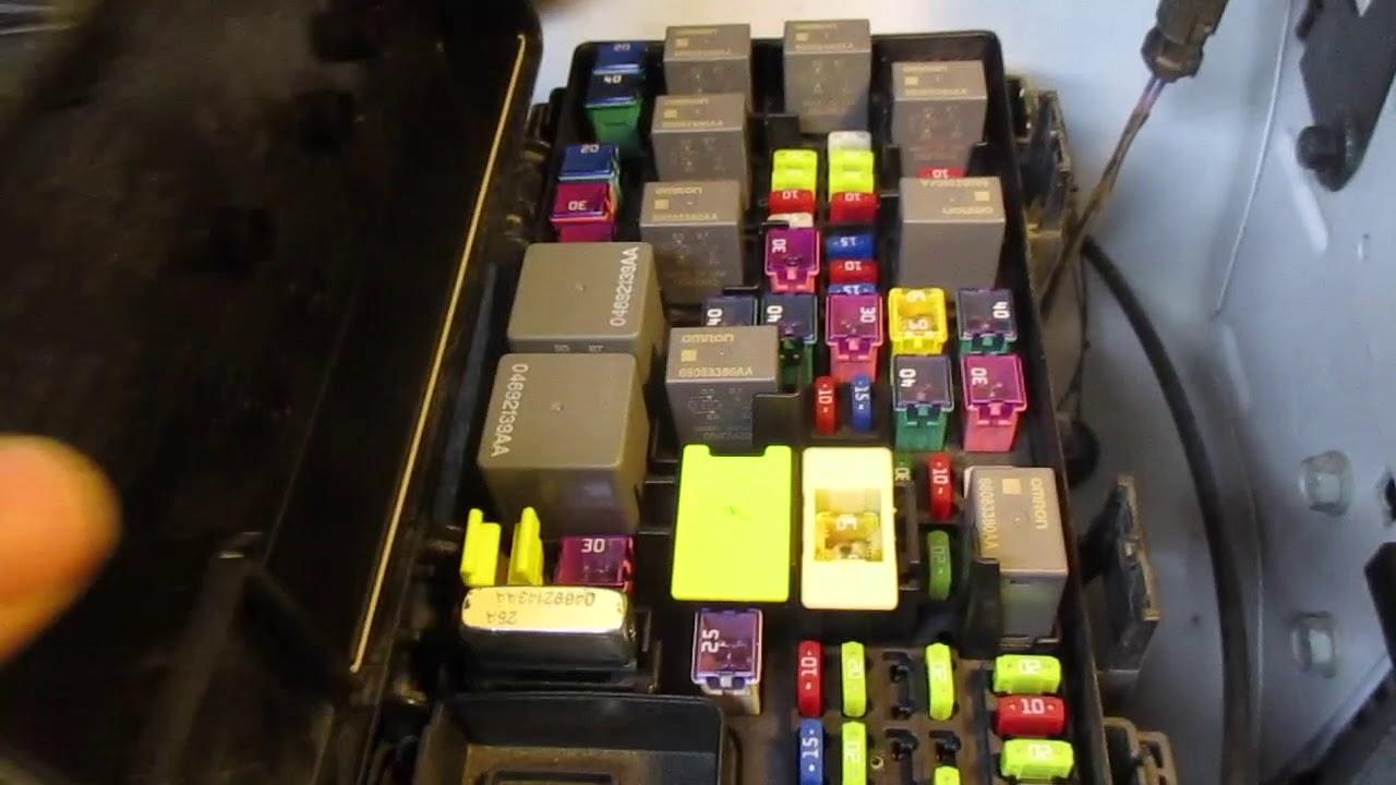 FUSE BOX Relay LOCATION Dodge Caravan 2009 2010 2011 2012