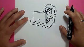 Como dibujar a un niño con su ordenador paso a paso | How to draw a boy with his computer