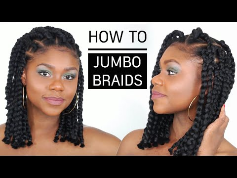 Cheveux afro et cru00e9pus | How to Jumbo Box Braids Bob (tuto coiffure simple) - YouTube