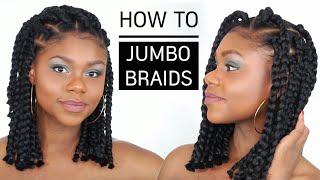 Cheveux afro et crépus   How to Jumbo Box Braids Bob (tuto coiffure simple)