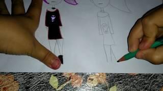 Como desenhar uma bonequinha Tumblr roqueira