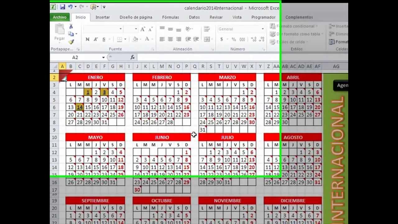... Calendario Excel 2014 Agenda Administrador Y | apexwallpapers.com